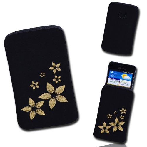 Handy Tasche Case Hülle schwarz / gold Blume2 Gr.2 für Samsung Galaxy Fame S6810 / Samsung Galaxy Music S6010 / Alcatel 385D / Alcatel One Touch Fire / LG Optimus L3 II E430 / Sony Xperia E / ZTE Open / Samsung Galaxy Star S5280
