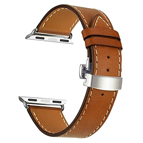 Leather Strap for Apple Watch, Wrist Bracelet Watchband for iWatch Series SE/6/5/4/3/2/1-brown silver,38mm(40mm)