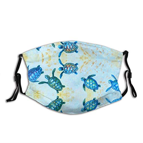 Blue Baby Sea Turtle Mask Balaclava Reusable Washable Anti-Dust Mouth Bandanas with 2 Pcs Filters