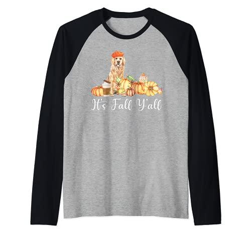 It's Fall Y'all Funny Dog Lover Labrador Regalo Otoño Calabaza Camiseta Manga Raglan