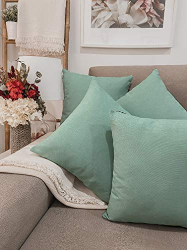 Pack 4 fundas de cojines para sofá EFECTO LINO suave, 16 COLORES fundas para almohada sin relleno, cojín decorativo grande para cama, salón. Almohadón elegante en varios tamaños.(Menta, 45x45cm)