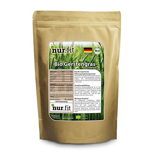 Nurafit BIO Gerstengras-Tabletten | Anbau Deutschland | ca. 500 Presslinge Tabs | zertifizierte Spitzenqualität | Veganes Superfood | Rein natürlich ohne Zusätze | 250g / 0.25kg