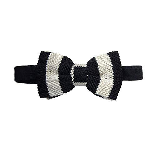 Tyler & Tyler. Noeud papillon tricot. Gentleman club, Soie. Noir, Club/rayé. Fabriqué en Italie.