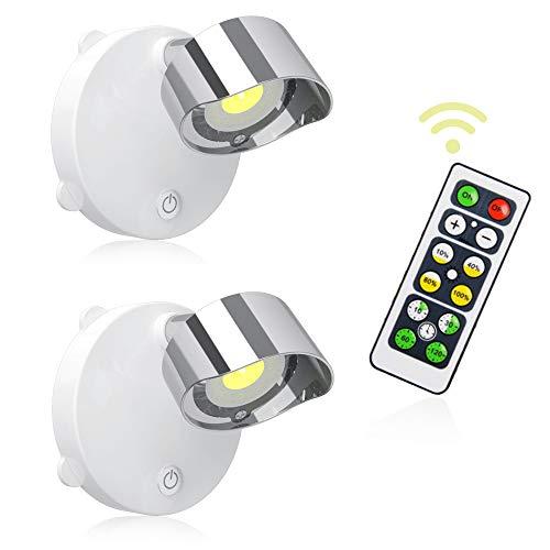 Lightess 2 Pcs Adesivi Faretto a LED Luci Batteria Luci del Telecomando per Corridoio Camera da letto Cucina ecc. (Bianco Caldo)