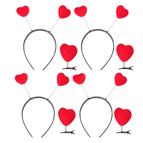 Pixnor Red Love Heart Shaped Headbands and Hair Clips,Valentines Day Red Heart Head Boppers Hairbands Heart Boppers Hairclips for Girls,8Pcs