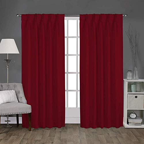 """Double Pinch Pleated Curtain Burgundy Red, 26"""" W X 84"""" L- 2 Panels Combined Size, Home Curtains Panel Pair Window Drapes for Living Room Darkening Thermal Insulated Blackout"""