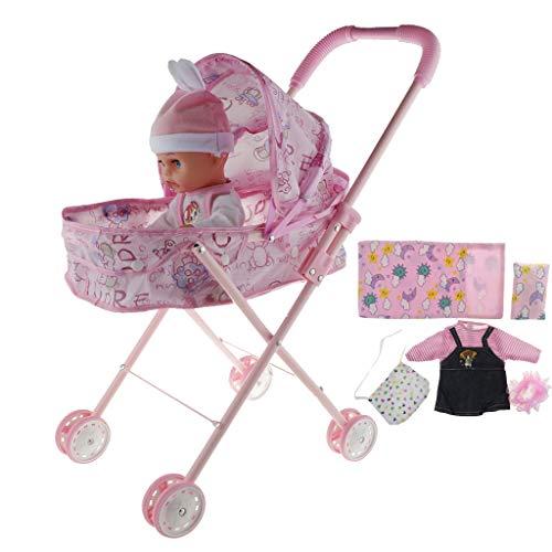 Milageto Cochecito de Bebé de Simulación, Carrito Plegable, Muebles de ABS para...