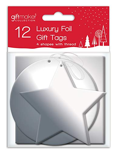 12 x Foil Christmas Xmas Present Shaped Gift Tags in Red Silver or Gold, Silver
