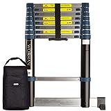 WORHAN® 2.6m (8' 6'') Single Telescopic Extendable Multipurpose Aluminium Ladder with Stabilizer Step Ladder (.2.6m B-line & Bag) 1K2.6B+Bag