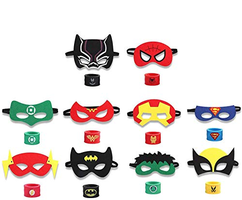 INTVN 10pcs máscaras de superhéroes y 10pcs Superhero Slap Band Pulseras,Accesorio de...