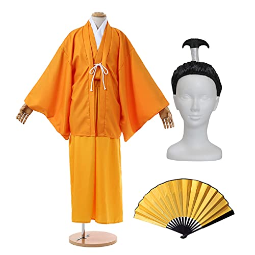 【 フルセット 】monoii 殿 コスプレ 殿様 衣装 おもしろ コスチューム 面白 お殿様 仮装 和服 コス 袴 カツラ 扇子 一式 d912