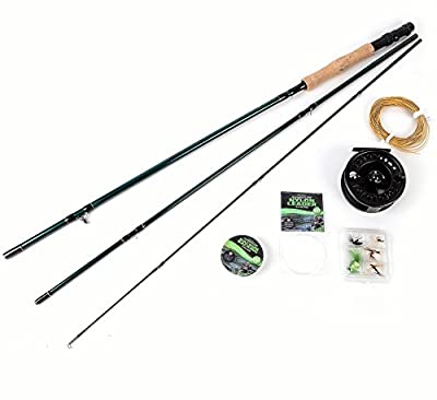 Matt Hayes Adventure - 6-7wt FLY Rod and 7-8 Weight Reel Complete Fishing Set / Floating Tapered Weight Forward 7 Line / Backing Line, Leader, and Flies for Trout Salmon and Carp Chub too [99-8003/8048246] by FLADEN