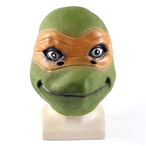 WATCBQ Halloween Maske Silikon Schildkröte Maske Kopfbedeckung Ninja Turtle Cartoon Kopfbedeckung Erwachsenen Kostüm Halloween Maskerade Lustige Figur-Grün