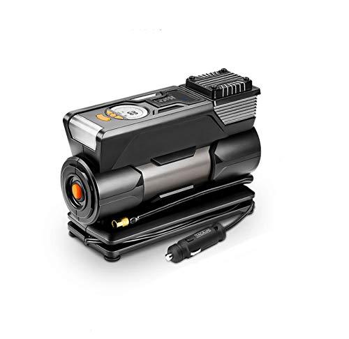 ZOUSHUAIDEDIAN Compresor de Aire del inflador de neumáticos, Bomba de neumáticos de Coche de 12V DC con inflación rápida, luz LED, Pantalla LCD Digital, Apagado automático, Negro