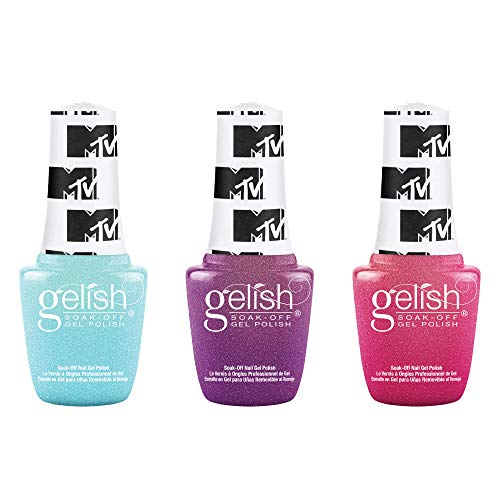 Gelish Summer MTV Switch On Color Collection 9 mL Soak Off Gel Nail Polish Set, 3 Color Pack with Electric Remix, Ultimate Mixtape, and Live Out Loud