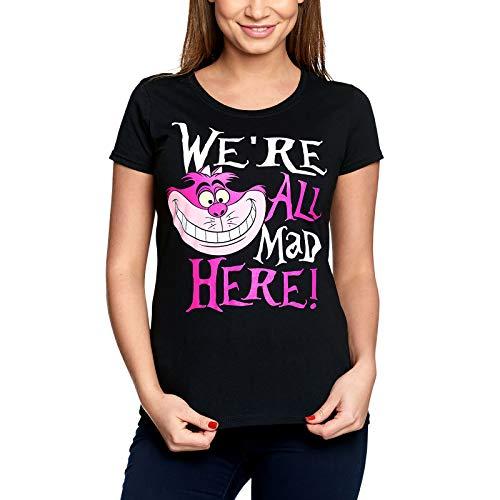 Alice im Wunderland Disney Damen T-Shirt Grinsekatze All Mad Here Baumwolle schwarz - XL