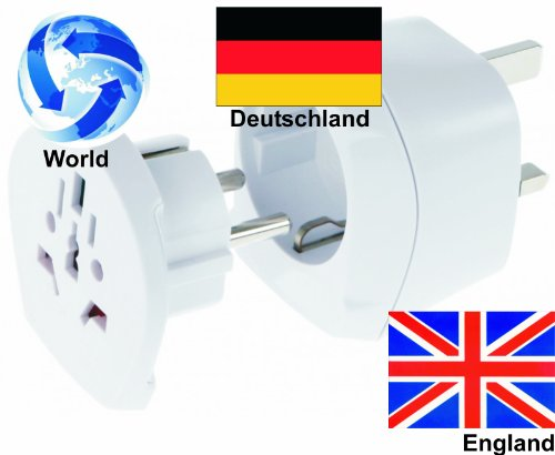 Reiseadapter Welt-Adapter auf England Groß Britanien + Deutschland (2er-Set, Steckdosenadapter GB)