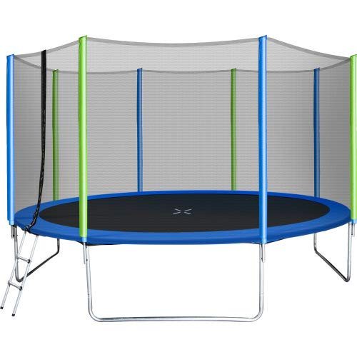 14Ft Tram-poline with Safety Enclosure Net, Spring Pad, Ladder, Outdoor Tramp0line for Kids and Adults, 1000lbs Combo Bounce Jump Tram-poline