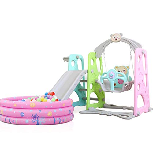 4 in 1 Climber Kids Silde and Swing Set with Pool and Balls, Music Player, Playground Sets for Backyards, Slide Playset with Basketball Hoop, Toddlers Yard Games for Fun, Ages 3 to 9 Years Old