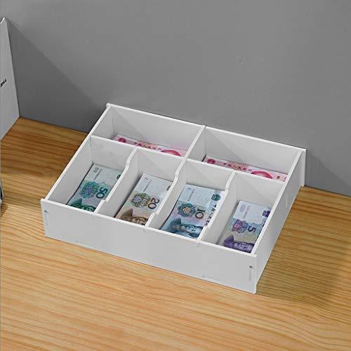 Caja de efectivo con dinero Cambio automático de escritorio caja de almacenamiento financiera Tienda Supermercado Billete de banco Cajero cajón Clasificación Separado Money Box Collection Caja fuerte