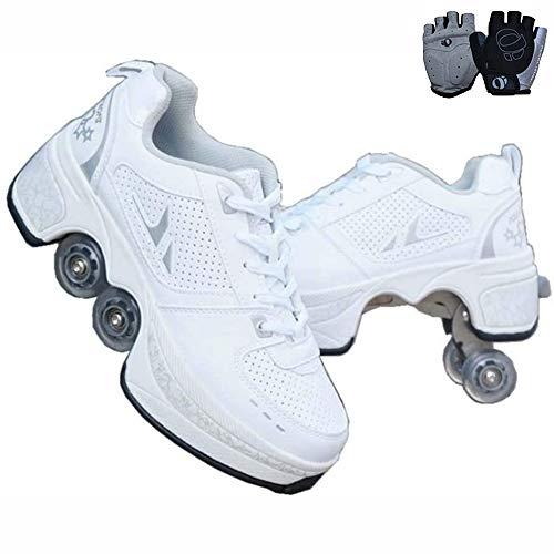 duvetset Inline Skates Damen,Rollschuhe verstellbar, Sportschuhe 2-in-1-Mehrzweckschuhe, Rollschuhe Madchen verstellbar Weiß, 34