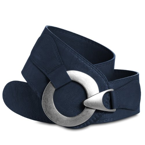 Caspar GU243 Cinturón Ancho para Mujer con Hebilla Grande de Metal, Tamaño:85, Color:azul oscuro