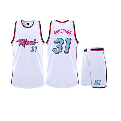 XSJY Maglie Set di Basket Maschile - NBA Miami Heat # 31 Ryan Anderson Adulti Bambini Unisex Traspiranti Pallacanestro Vestiti Set Sportivo,Bianca,4XL:180~185CM