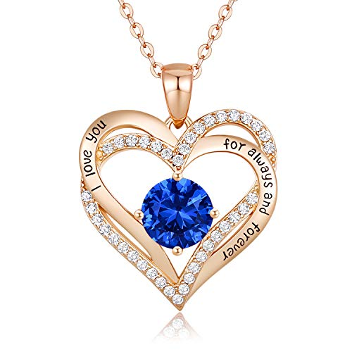 CDE Collar Corazón Forever Love Plata de Ley 925 Chapado en Oro Rosa Setiembre Collares Pendientes de Piedra Natal para Mujeres con 5A Cubic (Oro rosa-09-Sep)