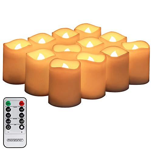 Monzana LED Kerzen 12er Set Flammenlose Echtwachskerzen Teelichter flackernde Licht Flammen Fernbedienung Timer Warmweiß