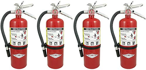 Amerex B402 5 lb. ABC Dry Chemical Class A B C Fire Extinguisher, with Wall Bracket, 4 Pack