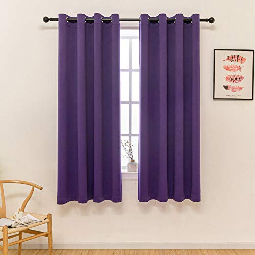 Royal Purple Curtains 63 Inch Length for Girls Bedroom Decor Set 2 Panels Window Blackout Draperies Thermal Blocking Short Insulated Curtains for Teen Kids Room Living 52x63 Long