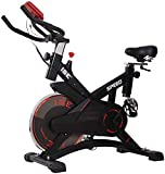 ISE Indoor Cycle Ergometer Heimtrainer,10kg Schwungrad,mit Pulsmesser, LCD Anzeige,Armauflage,gepolsterte