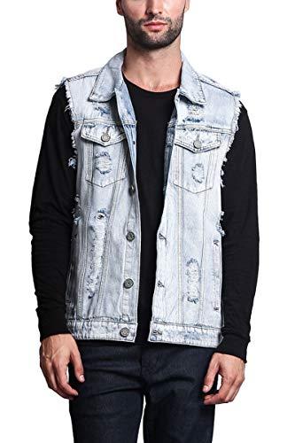 Cicilin Men Denim Vest Waistcoat Sleeveless Jeans Jackets Casual Ripped Vintage Cowboy Slim Fit Outwear Gilets Gray Blue 3XL