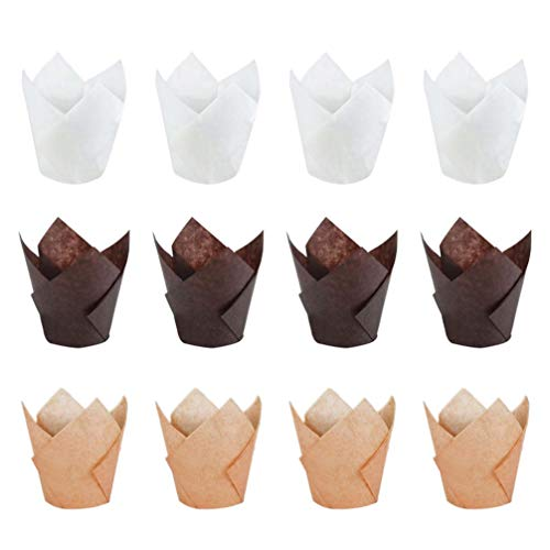BESTonZON 300 Stück Backförmchen Tulpen Muffinform Formen Papier Cupcake Liner für Cupcakes Fettdicht für Hochzeit Geburtstag Party