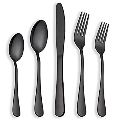 Berglander 40 Piece Shiny Black Flatware Set, 40 Piece Black Titanium Plating Flatware, Black Gold Plated Stainless Steel Silverware Set Cutlery Sets, Service for 8 (Shiny Black)