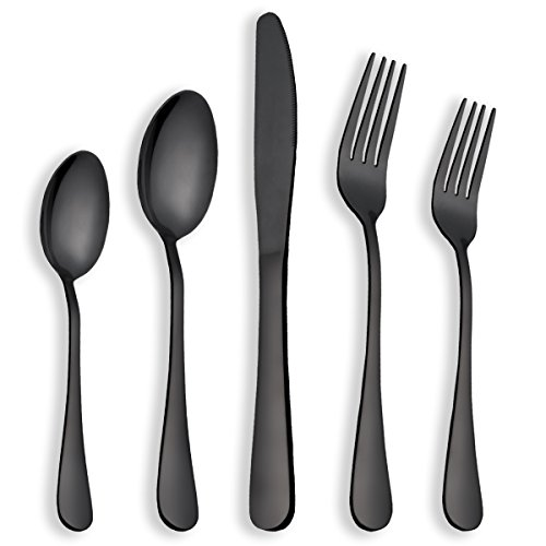 Berglander Flatware Set Black Gold, 20 Piece Black Flatware, 20 Piece Black Titanium Flatware, 20 Piece Black Gold Plated Stainless...