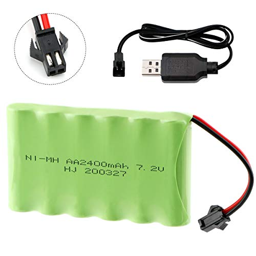 Hootracker 7.2V 2400mAh NI-MH AA Rechargeable Battery Pack with SM-2P 2Pin Plug and USB Charger Cable for RC Truck Cars Vehicles