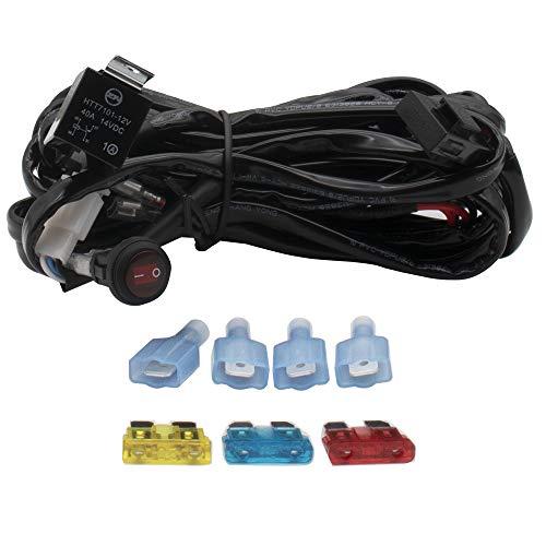 Preisvergleich Produktbild WANYIG Kabelbaum Kabelsatz Relais Adapter 300W(max.) 12V / 24V 40A für 2PCS LED Off Road ATV Nebelscheinwerfer Scheinwerfer Arbeitsscheinwerfer Tagfahrleuchten Lichtleisten 300CM