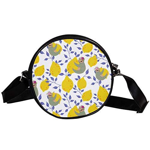 Bennigiry DEYYA - Bolso de mano para mujer, diseño de perezosos en los limones amarillos
