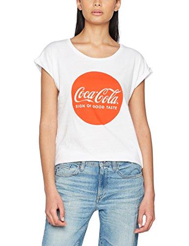 MERCHCODE Ladies Coca Cola Round Logo Tee, T-Shirt Donna, White, M