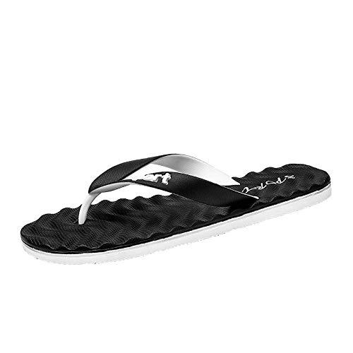 B/H Mujeres Zapatos de Piscina Chanclas de Playa,Sandalias y Pantuflas de Suela Blanda Antideslizantes, Chanclas de Masaje para baño Externo-Blanco y Negro_40