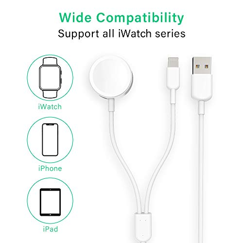Blasses Watch Charger Charger 2 in 1 Magnetic Wireless Charging Cable 3.3ft Compatible with iPhone 11/11 Pro/XR/XS iWatch Charger and iWatch Series 1 2 3 4 5