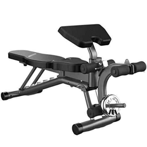 HAOYF Home Hantelbank Multifunktionale Sit-Ups Fitnessgeräte klappbar Rückenbrett Bankdrücken Fitness-Stuhl Multifunktionale Einstellung, Gym Qualität (Farbe: Schwarz, Größe: 178 x 36 x 45 cm)