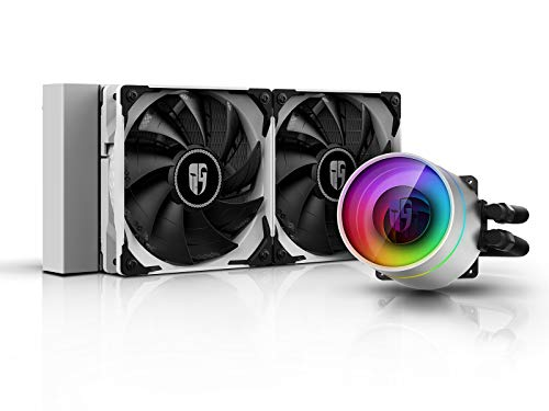DEEPCOOL Castle 240EX WH, Addressable RGB AIO Liquid CPU Cooler, Anti-Leak Technology Inside, Cable Controller and 5V ADD RGB 3-Pin Motherboard Control, TR4/AM4 Supported, 3-Year Warranty
