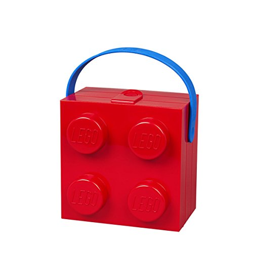 Room Copenhagen 4024 Lego - Caja de mano (4 asas, plástico, color rojo brillante)