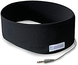 AcousticSheep SleepPhones Classic | Corded Headphones for Sleep, Travel, and More | The Original and Most Comfortable Headphones for Sleeping | Pitch Black - Breeze Fabric (Size M)