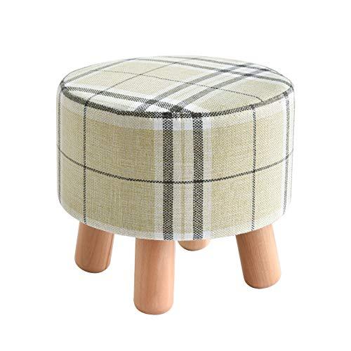 IBUYKE Polsterhocker Fußhocker Sitzhocker Sofa hocker Stoff hocker Abnehmbarer Sitzbezug aus Baumwolle und Leinen, für Wohnzimmer Schlafzimmer Rund Streifen RF-468