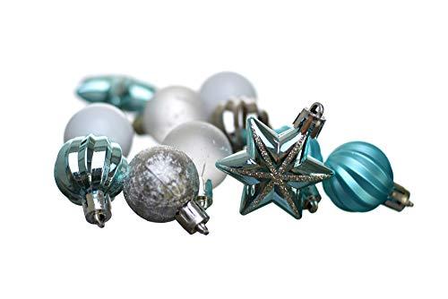 Heitmann Deco Christbaumkugeln - 44 TLG. Set - Kugeln - Sterne - Weihnachtsschmuck - türkis,Silber,weiß - ca. 3cm