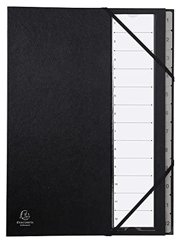 Exacompta 56012E Premium Ordnungsmappe Ordonator. Mit festem Einband für DIN A4 und 12 Fächern 1-12 mit dehbarem Rücken, 2 Gummizügen, Kunststofftaben Fächermappe Register-Mappe schwarz