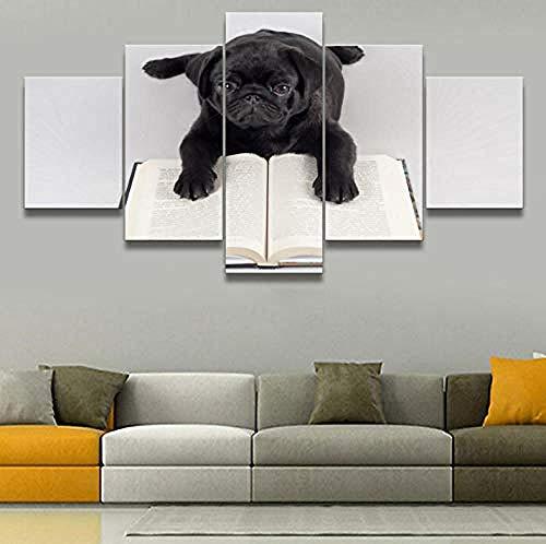 YB Schilderij Wandkunst Poster Hoofddecoratie zwarte hond en boekenkast HD druk modern canvas schilderij 25x38cm (x2) 25x50cm (x2) 25x63cm (x1) geen lijst